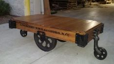 Vintage Lineberry factory cart coffee table restored golden oak finish