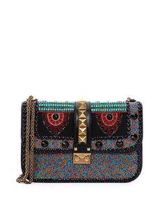 V2VDH Valentino Medium Beaded African Lock Shoulder Bag, Black