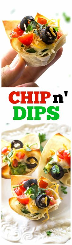 Chip n' Dips - Delicious bean dip and the chip all in one convenient package. A great bite sized appetizer. the-girl-who-ate-everything.com