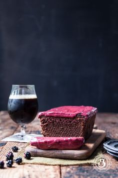 One Bowl Chocolate Stout Loaf Cake with Blackberry Frosting