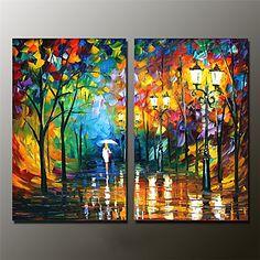 Pintada a mano Paisaje / Paisajes Abstractos Pinturas de óleo,Modern Dos Paneles Lienzos Pintura al óleo pintada a colgar For Decoración