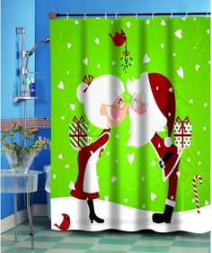 Kissing Claus Christmas Themed Holiday Fabric Shower Curtain 70 x 72 Inches #ChristmasShowerCurtain #Fabric #FabricShowerCurtain #FabricCurtain #Curtain #Christmas #ChristmasDecor #Holiday #Seasonal #HomeDecor #HolidayDecor
