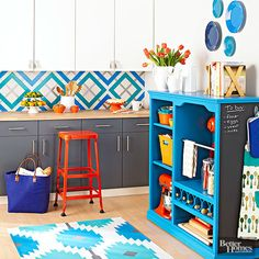 With a little paint, a remnant of vinyl sheet flooring can become a high-style floorcloth for your kitchen.