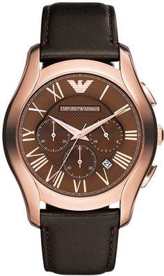 Emporio Armani Watch, Men's Chronograph Dark Brown Leather Strap 45mm AR1701