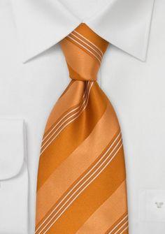 Krawatte orangebraun Linien