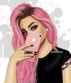 Now People Everywhere Are Using Pink As A Fashion Statement Not Only For Girly Girls But Also For Cool And Punk Rock Feels Beautiful Girl Drawing, Cute Girl Drawing, Cartoon Girl Drawing, Girl Cartoon, Cartoon Art, Beautiful Beautiful, Best Friend Drawings, Girly Drawings, Pencil Drawings