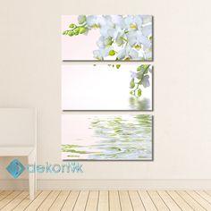 Floral Beyaz Orkide Tablo #parçalı_kanvas_tablolar