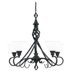 """Chandelier in burnished umber with scrollwork accents and glass shades.  Product: ChandelierConstruction Material: Glass and metalColor: Burnished umberFeatures: Scrollwork accentsAccommodates: (4) 100 Watt bulbs - not includedDimensions: 148"""" H x 28"""" Diameter (with cable)"""