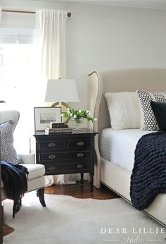 This lamp is one of my favorite  HomeGoods finds. It adds the perfect modern touch to the traditional style nightstand. (Sponsored pin)