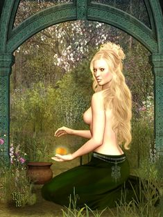 "The Garden of Idun by Erulian. In Norse mythology, Idun ""She who Renews""(also Iduna, Idunn, Ithun, or Idunnor) was the goddess of youth and fertility. She was the custodian of golden apples which allowed the Aesir gods to maintain their youthfulness, and was the only god allowed to gather them. Iduna was the wife of Bragi, god of poetry, and originally a member of the Vanir. She departed the fields and forests of Vanaheim to live with him in Asgard, where she had her western garden."