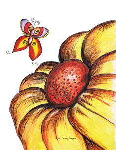 Sunflower butterfly by 1illustratinglady.deviantart.com
