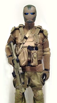 "This is my NEW ""set-up"" all-colored ""Dark Earth"" being defined, pieces missing (incoming) are the BDU jacket in color, the back holster and the helmet in Crye Precision ""AirFrame"" style.  My ""armory"" is made by the Heckler & Koch G36C assault rifle, Calico M 1000 rifle and the Ruger MK III pistol."