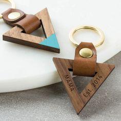 Personalised Luxury Leather Wood Keyring Triangle                                                                                                                                                                                 More