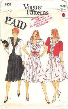 VOGUE 8234 - FROM 80S - UNCUT - MISSES JACKET & DRESS