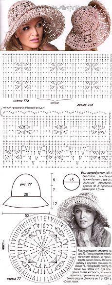 Вязание летней шляпы крючком | ВЯЗАНИЕ ШАПОК: женские шапки спицами и крючком, мужские и детские шапки, вязаные сумки