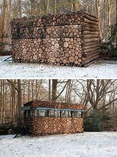 shed. Or a deer stand! Ahhh, big enough to lay down & sleep in when animals aren't in yet. ;) bahaha