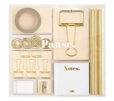 This beautiful Stationery Kit includes everything you need to get creative with DIY projects as well as decorate and organise your planner, notebook or diary. Featuring glitter tape, bulldog clips, eraser and more, plus presented in an acrylic box, you'll love having all of your stationery essentials to hand.