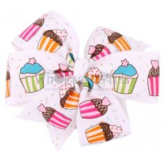 Pinwheel Hair Bow Cupcake