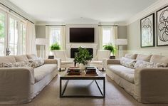 I love it when a family room is large enough to accommodate two sofas. My client has the room and is on board with the ...