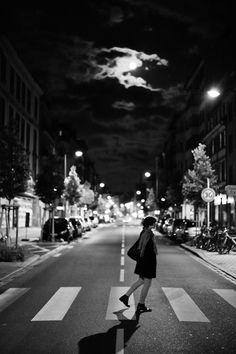 Night shot moon over streets of Strasbourg
