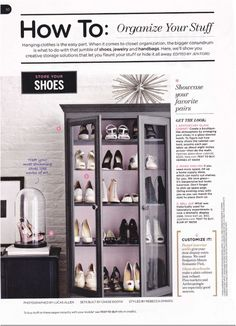 how to organize your shoes using and Ikea Hemnes glass door cabinet
