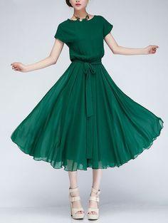 Spring summer chiffon long dress lady women clothing gown (FGK175)