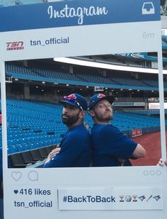 Bautista & Donaldson Blue Jay Way, Go Blue, Josh Donaldson, American League, Toronto Blue Jays, Baseball Players, Diamond Are A Girls Best Friend, Best Games, My Boys