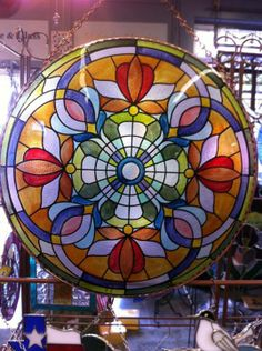 Mandala by Sterling Stone  Glass.  This type of pattern would be beautiful mosaic bird bath or tabletop.