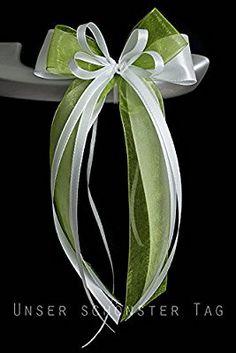 Antennenschleife Autoschleife Autoschmuck Hochzeit SCH0053 weiß grün (10 Stück)