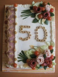 slaný dort kniha - Hledat Googlem Party Platters, Party Buffet, Sandwhich Cake, Meat Cake, Buttercream Flowers, Food Decoration, Christmas Appetizers, Cake Creations, Food Design