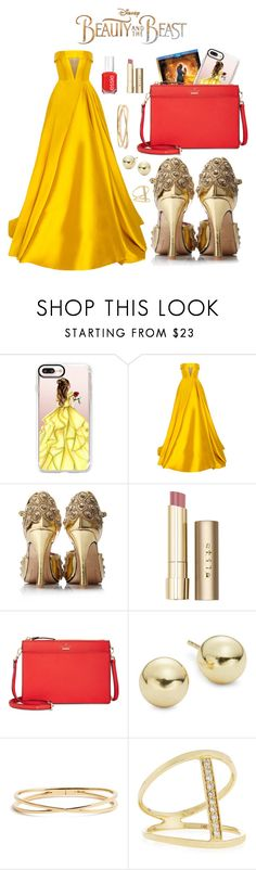 """Beauty and the Beast outfit #1"" by gabby-a-j ❤ liked on Polyvore featuring Disney, Casetify, Alex Perry, Stila, Kate Spade, Lord & Taylor, Nadri, Sydney Evan, BeautyandtheBeast and contestentry"