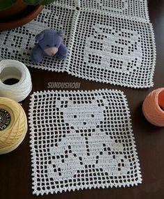 Filet Crochet, Diy Crochet, Crochet Panda, Manta Crochet, Crochet Patterns, Kids Rugs, Blanket, Knitting, Baby