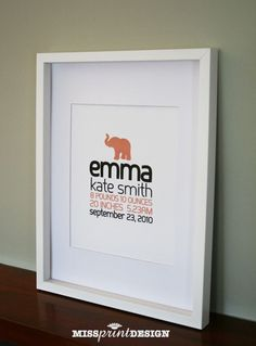 SO CUTE!   Elephant Baby Nursery Art Personalized Baby by missprintdesign, $18.00