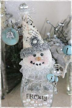 DIY- Glass bottle Snow Men !