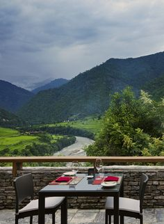 Private meals in your villa terrace in Uma by COMO, Bhutan are accompanied by views like this.