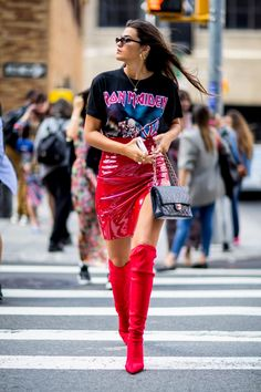 Band tee, red leather skirt with a side slit, red over the knee boots. Street style fashion, summer fashion, trends. #redoverthekneeboots #overthekneeboots