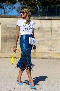 Fringe Benefits : leather fringe skirt #StreetStyle
