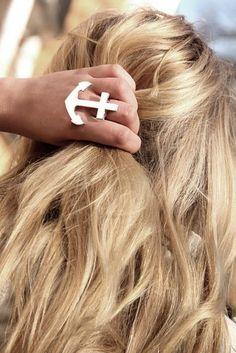 Anchor statement ring and beachy waves. #hair #nautical #sailor
