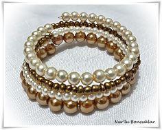 DIY İncili Bileklik / DIY Pearl Bracelet / memory wire bracelet