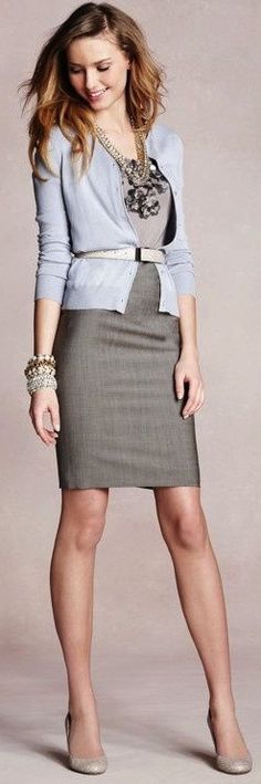Plain grey sleeveless dress, with light cardigan and nude pumps. Simpler jewelry than this though.-- http://popsu.gr/qqAw