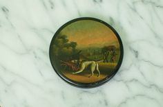 Antique Paper Mache Lacquered SNUFF BOX Hunting Scene Illustration on Lid by BrooklynAntiques on Etsy https://www.etsy.com/listing/279008062/antique-paper-mache-lacquered-snuff-box
