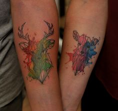 Watercolor deer tattoo for couple. Artist @Janis Andersons #graphic #deer #animal #wildlife #watercolor #watercolortattoo #deertattoo #couple #coupletattoo #armtattoo #symbolic #splash #color #tattoo #tattoofrequency #riga #tattooriga #tattooinriga #rigatattoo #getinked #ink #tattooart #art #share #like #follow