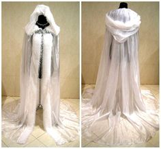 FUR medieval cloak white cape wedding dress costume door astrastarl