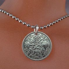 ENGLAND necklace.  COIN JEWELRY . english coin. Uk. by PartsForYou, $13.95