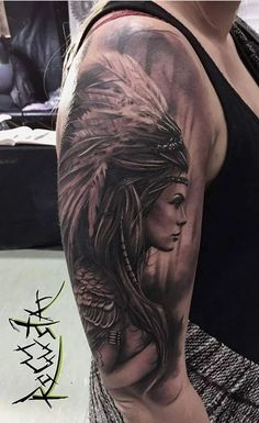 Indian girl arm tattoo
