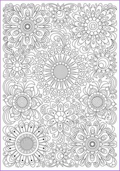 COLORING PAGE doodle flowers, coloring printable adults and children, PDF, zentangle inspired, doodl Pattern Coloring Pages, Free Adult Coloring Pages, Flower Coloring Pages, Colouring Pages, Coloring Sheets, Coloring Books, Pen Doodles, Flower Doodles, Doodle Flowers