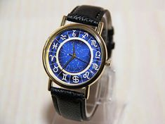 Wrist Watch with battery. Unique Watches, Watches For Men, Zodiac Watches, Leather Watch Bands, Constellations, Crystal Rhinestone, Apple Watch, Signs, Accessories