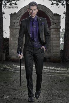 Abito da sposo nero con camicia viola. Completo ONGala 2080 Abiti Da Sposa bb531dcf20d