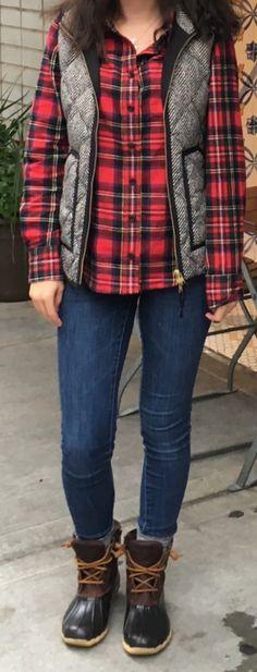 LL Bean flannel, Jcrew Factory Herringbone Vest, Sperry duck boots