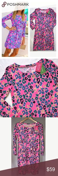 """NWT Lilly Pulitzer Fluorescent Pink T Shirt Dress New with tags Lilly Pulitzer Corine t-shirt dress. Sunkissed Pi.  Fluorescent pink cheetah print with aqua, tan, teal and deep purple.  Sleeves a bit longer than 3/4.  Rounded neckline. Gold button accents on front faux pockets. 100% Pima cotton.  Hits above knee.  Size XS.  Approx:  pit to pit across laying flat 16"""", length 33.5"""". Lilly Pulitzer Dresses Mini"""